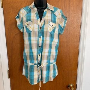 Muddy Large Button Down Tunic Shirt Cotton